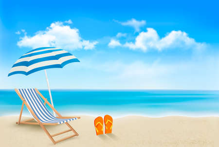 Ilustración de Seaside view with an umbrella, beach chair and a pair of flip-flops. Summer vacation concept background. Vector.  - Imagen libre de derechos