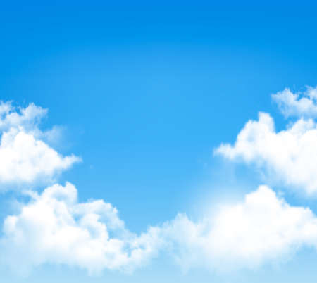 Ilustración de Background with blue sky and clouds. Vector. - Imagen libre de derechos
