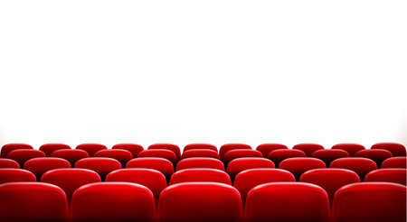 Illustration pour Rows of red cinema or theater seats in front of white blank screen with sample text space. Vector. - image libre de droit
