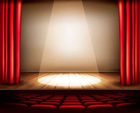 Illustration pour A theater stage with a red curtain, seats and a spotlight. Vector. - image libre de droit