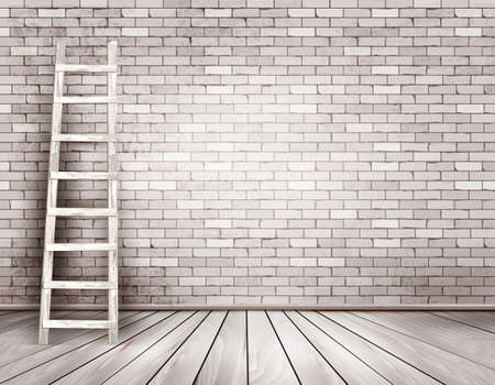 Illustration pour Old white brick wall background with wooden ladder. Vector - image libre de droit