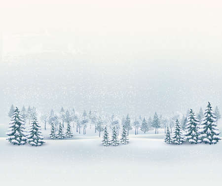Foto de Christmas winter landscape background. Vector. - Imagen libre de derechos