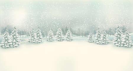 Vintage Christmas winter landscape background. Vector.