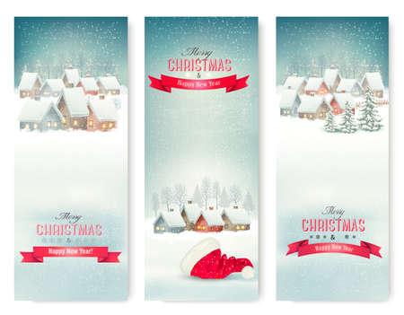 Foto de Holiday Christmas banners with villages. Vector. - Imagen libre de derechos