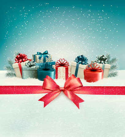 Illustration pour Christmas background with a bow and presents. Vector. - image libre de droit