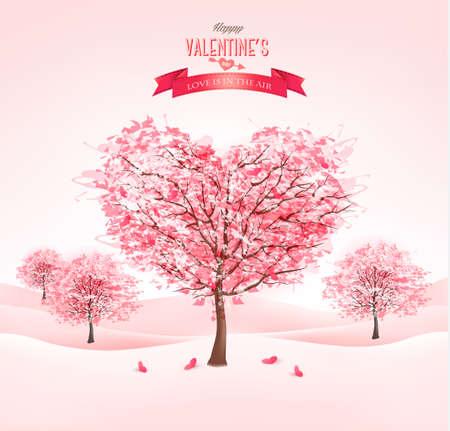 Pink heart-shaped sakura trees. Valentine's day. Vector.