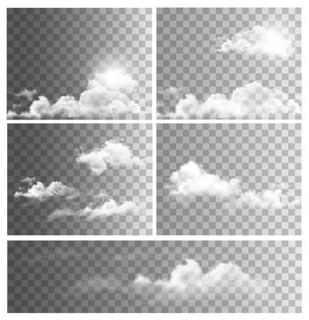 Ilustración de Set of backgrounds with transparent different clouds. Vector. - Imagen libre de derechos