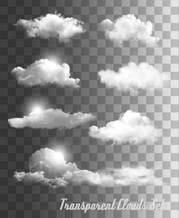 Illustration pour Set of transparent clouds. Vector. - image libre de droit