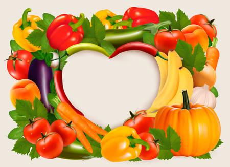 Foto für Heart shaped background made of vegetables and fruit. Vector. - Lizenzfreies Bild