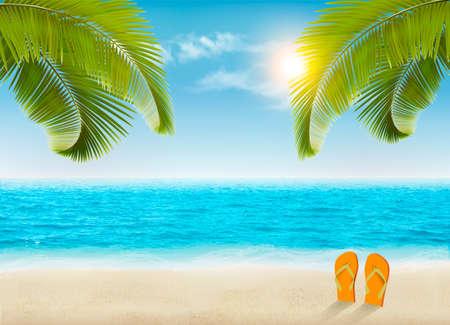 Ilustración de Vacation background. Beach with palm trees and blue sea. Vector. - Imagen libre de derechos