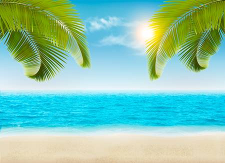 Seaside with palms and a beach. Vector.
