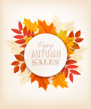 Autumn Sales Banner With Colorful Leaves. Vector.のイラスト素材