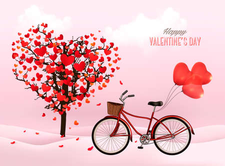 Illustration pour Valentine\'s Day background with a heart shaped tree and a bicycle with heart shaped balloons.  - image libre de droit