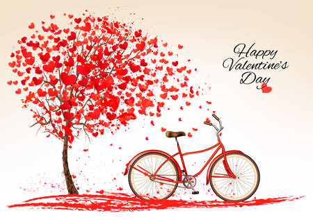 Illustration pour Valentine's day background with a bike and a tree made out of hearts. Vector. - image libre de droit