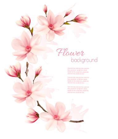 Illustration for Spring background with blossom brunch of pink flowers. - Royalty Free Image