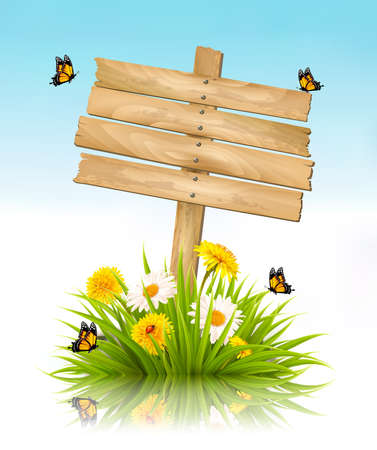 Summer nature background with grass, flowers and wooden sign.