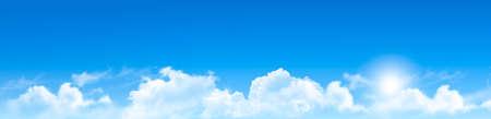 Ilustración de Nature  background with blue sky and clouds. Vector. - Imagen libre de derechos