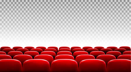 Illustration pour Rows of red cinema or theater seats in front of transparent background. Vector - image libre de droit