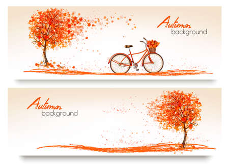Illustration pour Autumn background with a tree and a bicycle. Vector - image libre de droit
