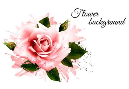 Ilustración de Beautiful flower background with a pink rose. Vector. - Imagen libre de derechos