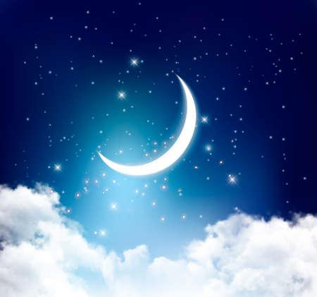 Ilustración de Night sky background with with crescent moon, clouds and stars. Vector - Imagen libre de derechos