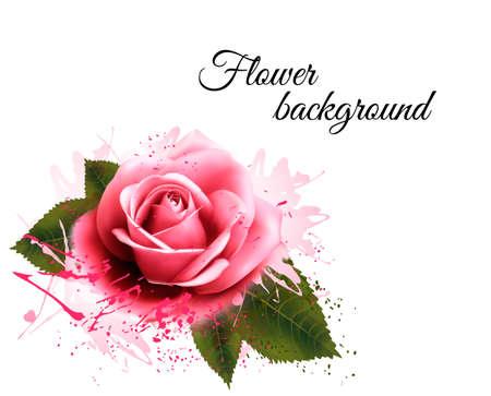Illustration pour Flower background with a pink rose. Vector. - image libre de droit