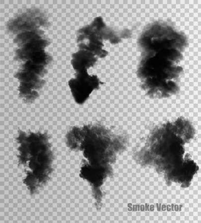 Illustration pour Transparent set of black smoke vectors. - image libre de droit