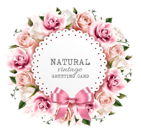 Illustration for Flower background made out of pink and white flowers with a ribbon. Vector. - Royalty Free Image