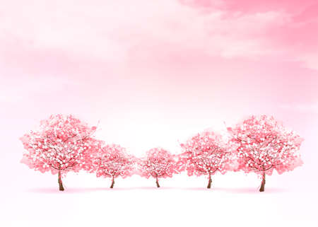 Illustration for Spring nature background with a pink blooming sakura tree. Vector. - Royalty Free Image