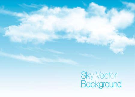 Illustration pour Blue sky background with white  transparent clouds. Vector background. - image libre de droit