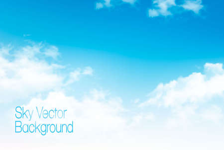 Ilustración de Vector blue sky panorama with transparent clouds. Vector background. - Imagen libre de derechos