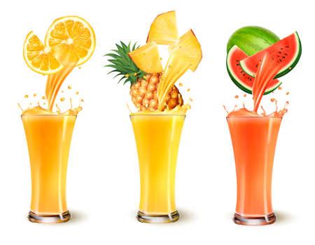 Vektor für Set of fruit juice splash in a glass. Orange, pineapple and watermelon. Vector - Lizenzfreies Bild