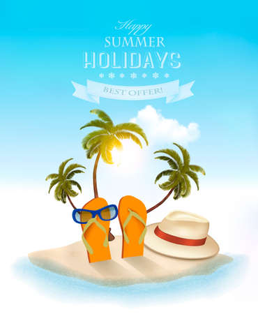 Ilustración de Summer holidays background. Vacation memories. Vector. - Imagen libre de derechos