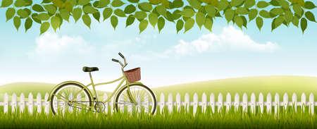 Ilustración de Nature spring background with grass and leaves. Vector. - Imagen libre de derechos