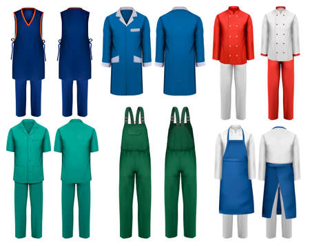 Illustration pour Set of overalls with worker and medical clothes. Design template. Vector illustration. - image libre de droit