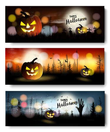 Illustration pour Set of Halloween Spooky banners. Vector - image libre de droit