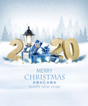 Illustration for Merry Christmas Background with 2020 and gift boxes and garland.Vector - Royalty Free Image