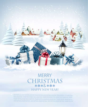 Illustration for Christmas holiday background with colorful gift boxes - Royalty Free Image