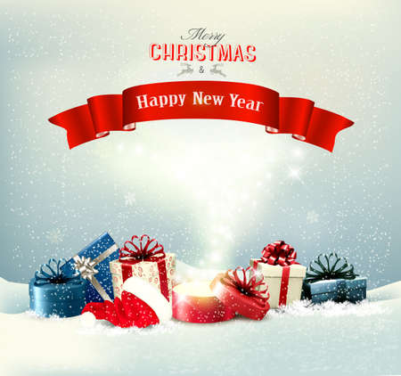 Illustration pour Holiday Christmas background with a presents and a magic box. Vector - image libre de droit