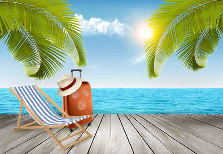 Illustration for Vacation background. Beach  with tropical palm trees and blue sea. - Royalty Free Image