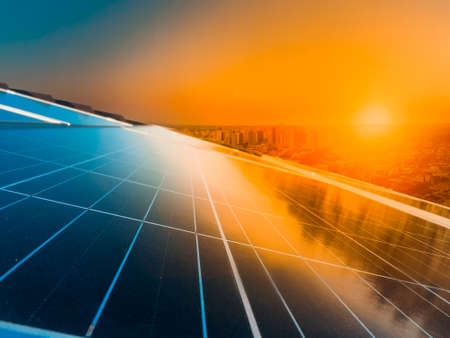 Photo pour Photovoltaic power plant installation on the roof of a residential building on sunny day - Solar Energy concept image. - image libre de droit