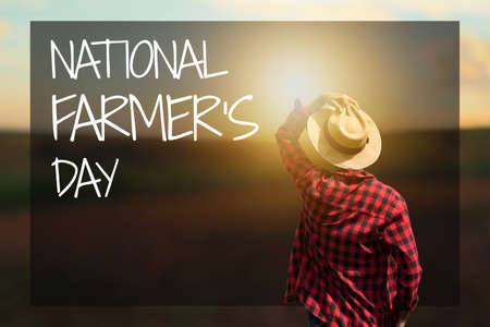 Photo pour Farmer at sunset outdoor. National Farmer's Day Text. Space for text. - image libre de droit