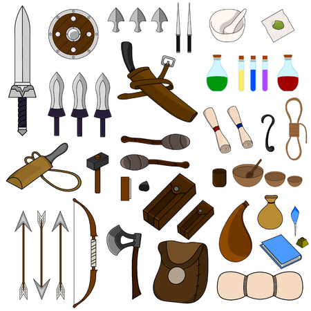 Illustration for Collection of 46 Items for Adventure isolated on white background. Adventurer Equipments. Medieval Weapons, Bags, Magic Potions, Crockery, Torchs, Bow, Scroll. - Royalty Free Image