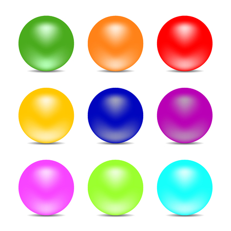 Illustration pour Rainbow color balls isolated on white background. Glossy spheres. Set for design elements. Vector illustration - image libre de droit