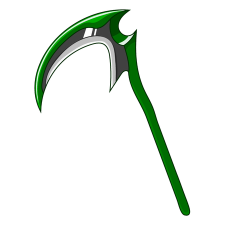 Illustration pour Cartoon Green Weapon Scythe isolated on white background. Game Design Equipment. Tool of Death. Vector Illustration for Your Design, Game, Card, Web. - image libre de droit