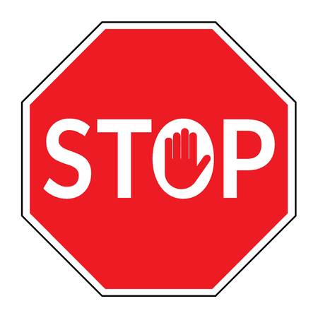 STOP sign. Traffic stop sign isolated on white background. Red octagonal stop sign for prohibited activities. Hand sign in the letter O. Stock vector illustration, you can simply change color and size