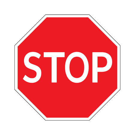STOP. Traffic stop sign on pure white. Red octagonal stop sign for prohibited activities. Vector illustration - you can simply change color and size