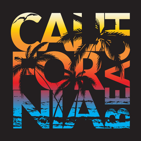 California beach Typography Graphics. T-shirt Printing Design for sportswear apparel. CA original wear. Concept in vintage graphic style for print production. Palms, wave and seagull. Vector