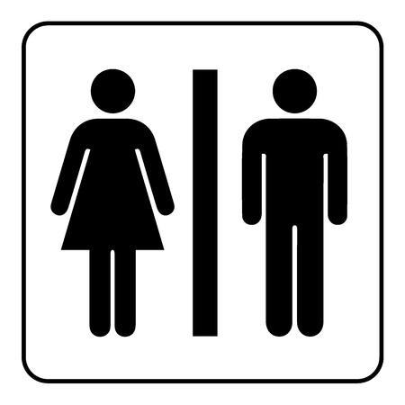 Ilustración de Restroom sign. Male and female toilet icon denoting restroom facilities for both men and women. Lady and a man WC emblem. Lavatory symbol on white background. Stock Vector Illustration - Imagen libre de derechos