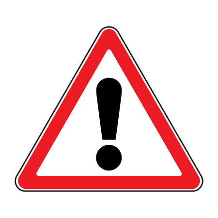 Hazard warning attention sign. Icon in a red triangle with exclamation mark symbol, isolated on a white background. Traffic symbol. Stock illustration